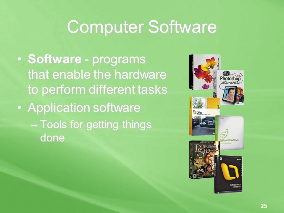 Computer Software Software - programs that enable the hardware to perform different tasks. Application software.