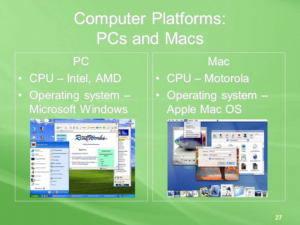 Computer Platforms: PCs and Macs