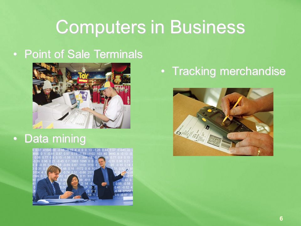 Computers in Business Point of Sale Terminals Tracking merchandise