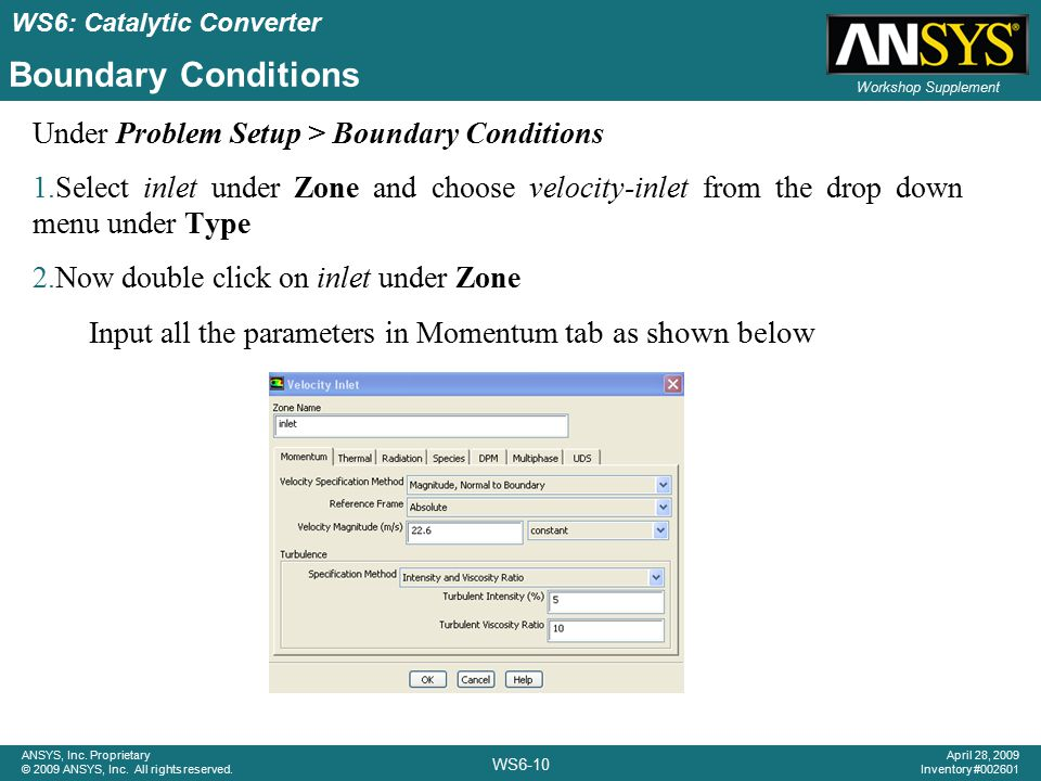 Boundary Conditions Under Problem Setup > Boundary Conditions