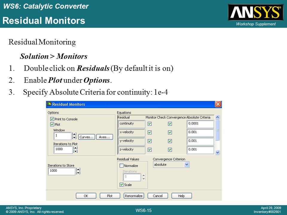 Residual Monitors Residual Monitoring Solution > Monitors