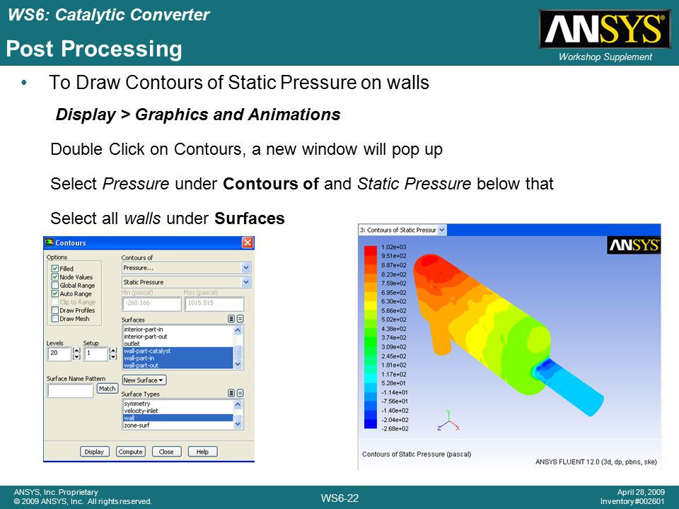 Post Processing To Draw Contours of Static Pressure on walls