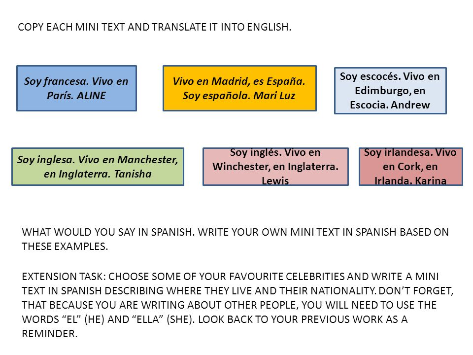 COPY EACH MINI TEXT AND TRANSLATE IT INTO ENGLISH.