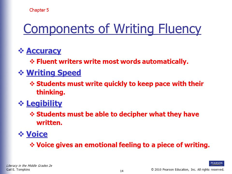 Components of Writing Fluency