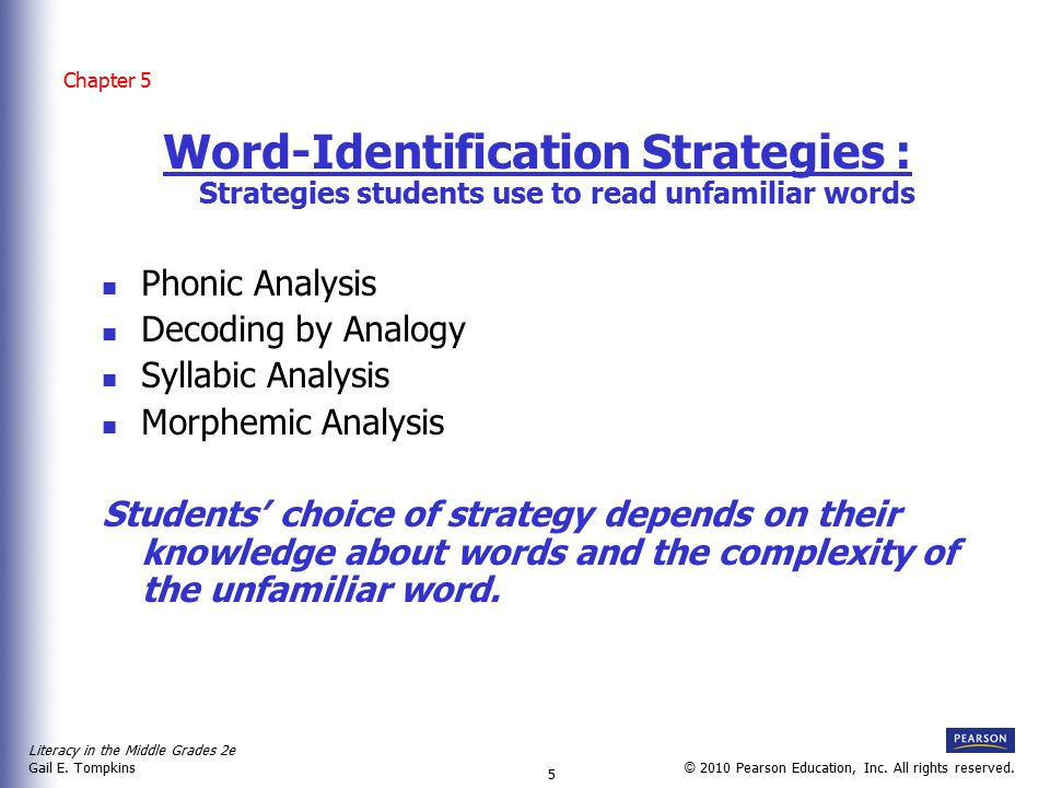 Chapter 5 Word-Identification Strategies : Strategies students use to read unfamiliar words. Phonic Analysis.