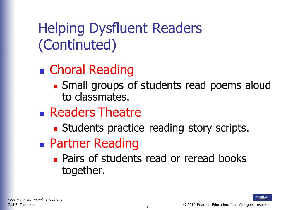 Helping Dysfluent Readers (Continuted)