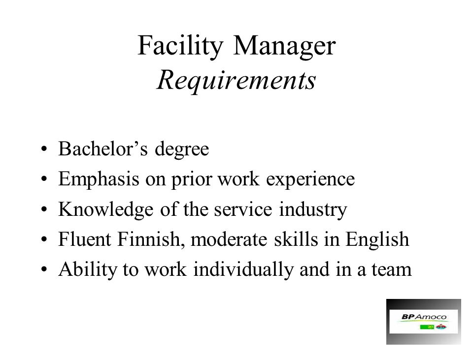 Facility Manager Requirements