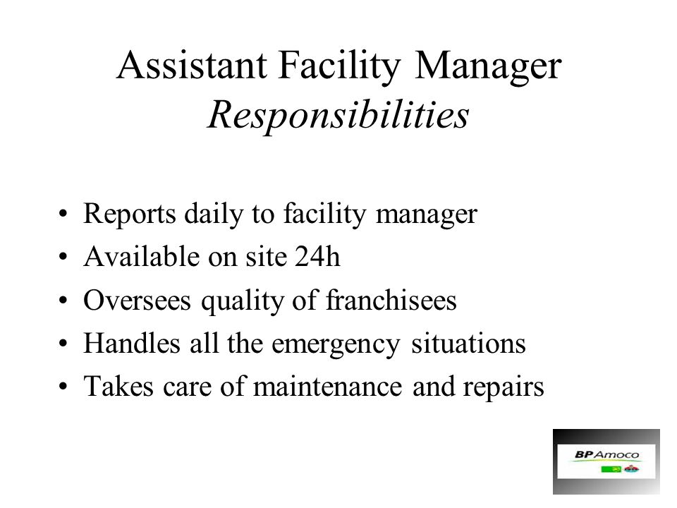 Assistant Facility Manager Responsibilities