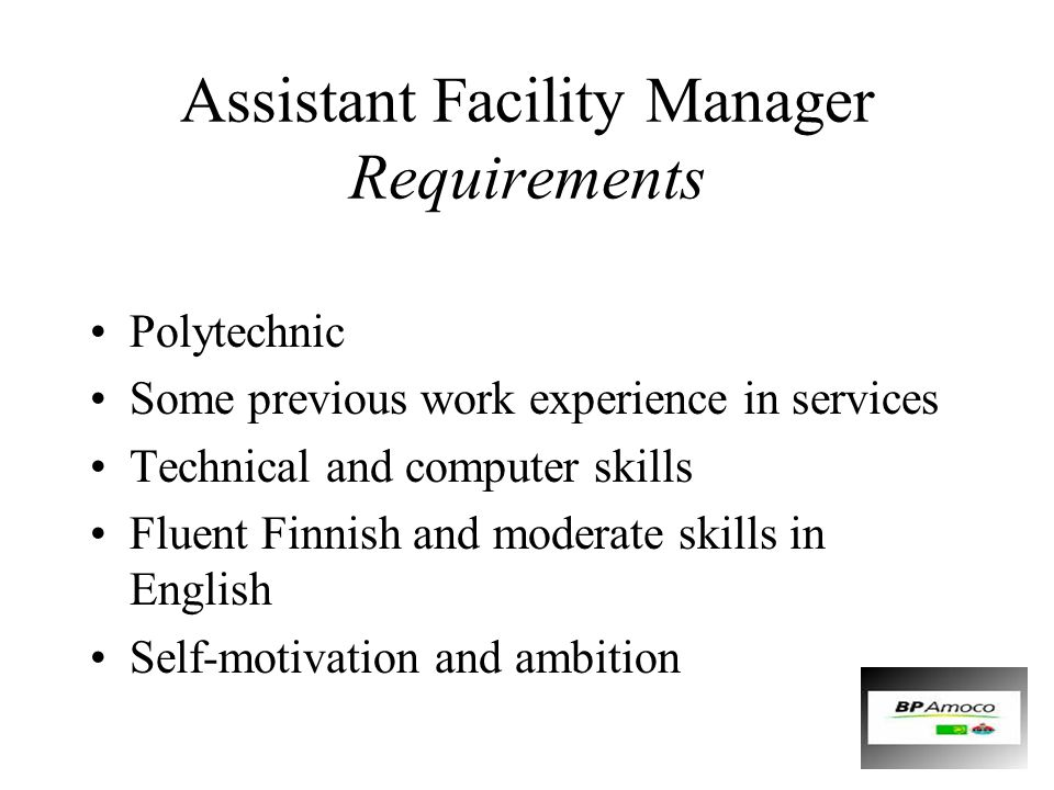 Assistant Facility Manager Requirements