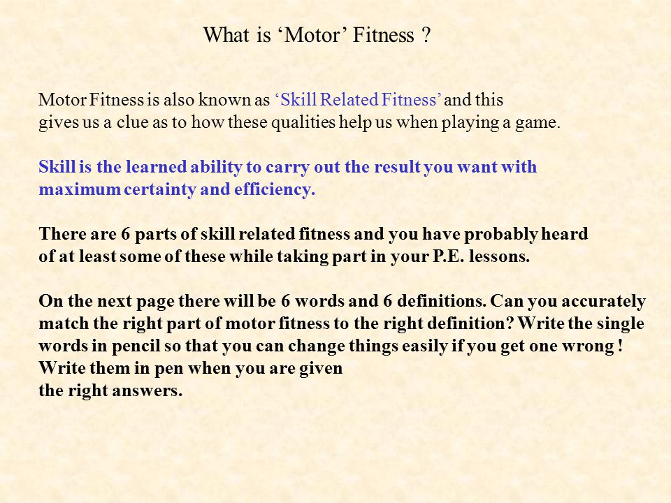 What is 'Motor' Fitness