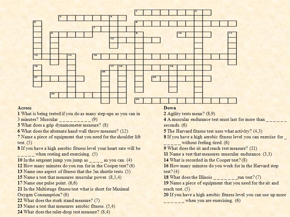 Fitness Testing Crossword