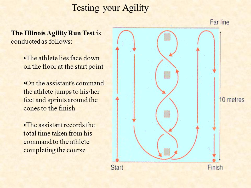 Testing your Agility The Illinois Agility Run Test is conducted as follows: The athlete lies face down on the floor at the start point.