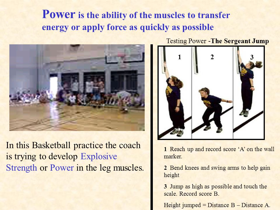 Power is the ability of the muscles to transfer energy or apply force as quickly as possible