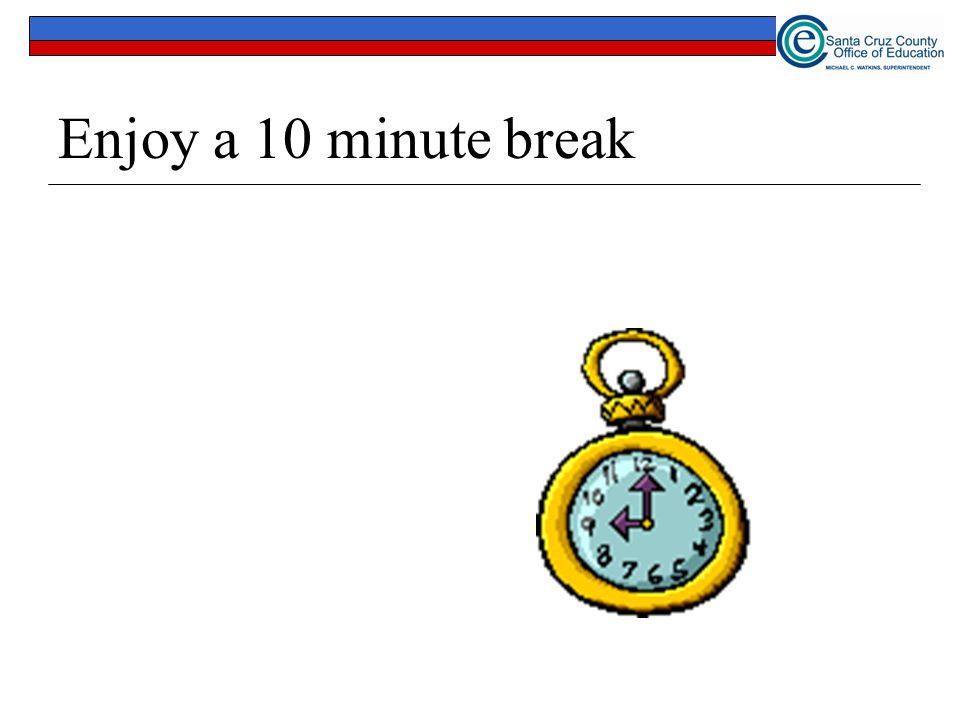 Enjoy a 10 minute break