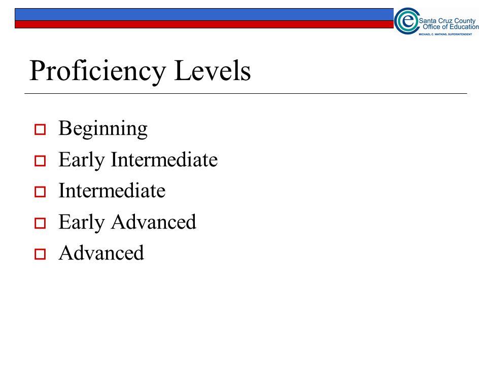 Proficiency Levels Beginning Early Intermediate Intermediate