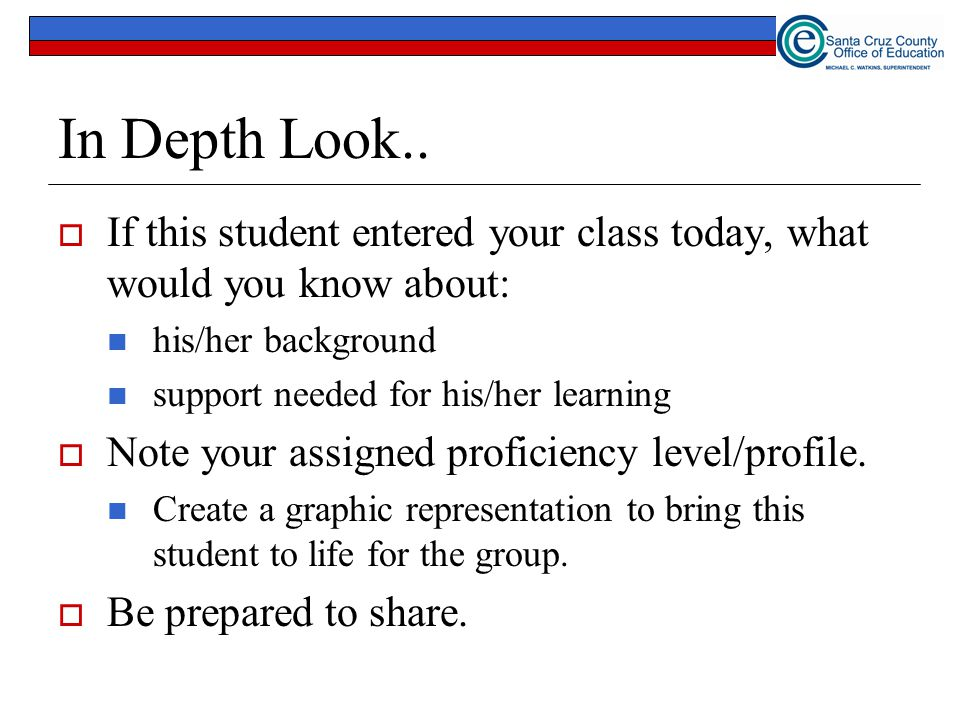 In Depth Look.. If this student entered your class today, what would you know about: his/her background.