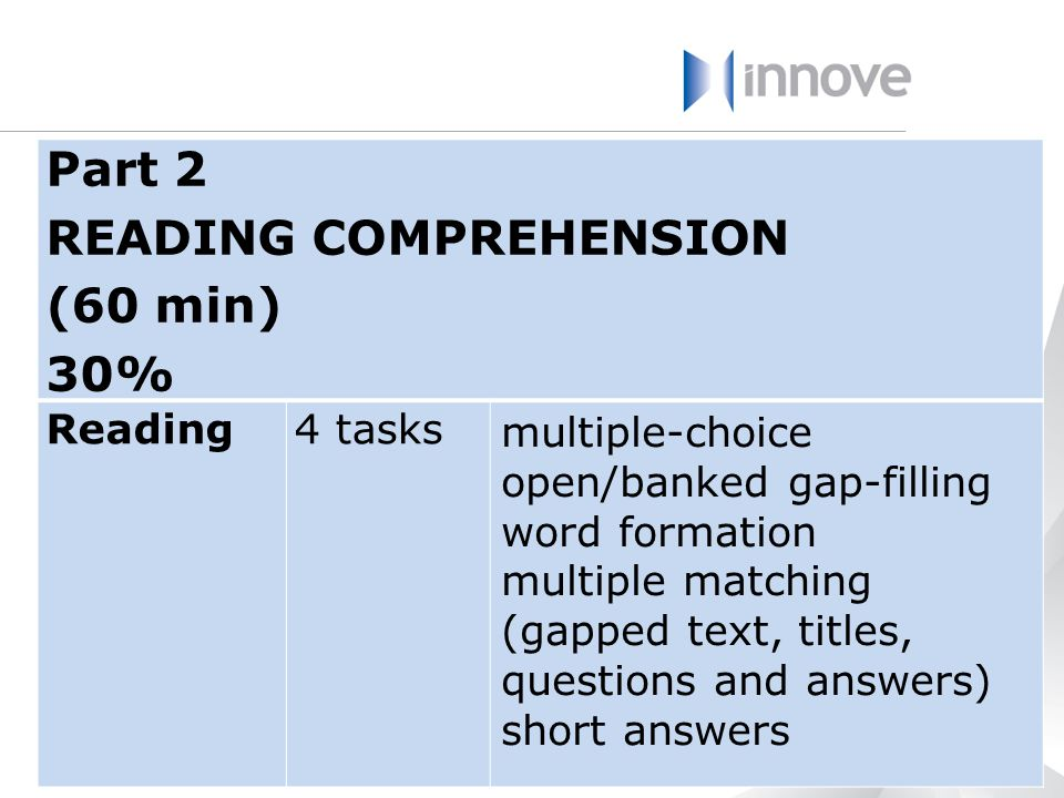 READING COMPREHENSION (60 min) 30%