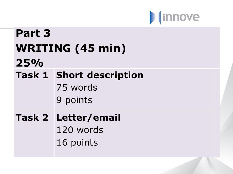 Part 3 WRITING (45 min) 25% Task 1 Short description 75 words 9 points