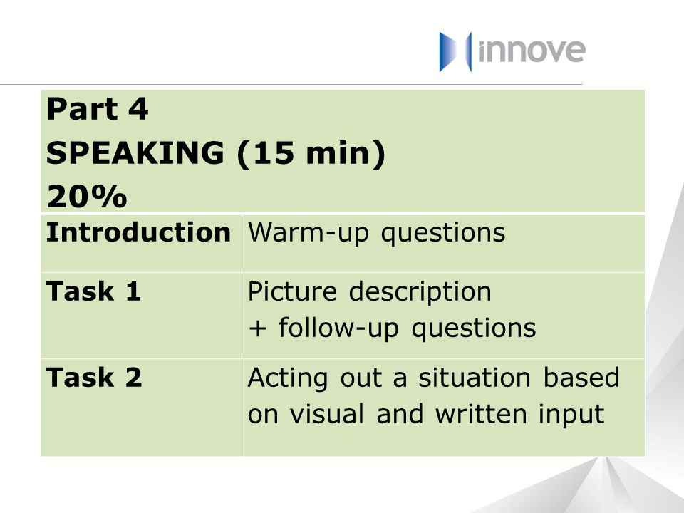 Part 4 SPEAKING (15 min) 20% Introduction Warm-up questions Task 1