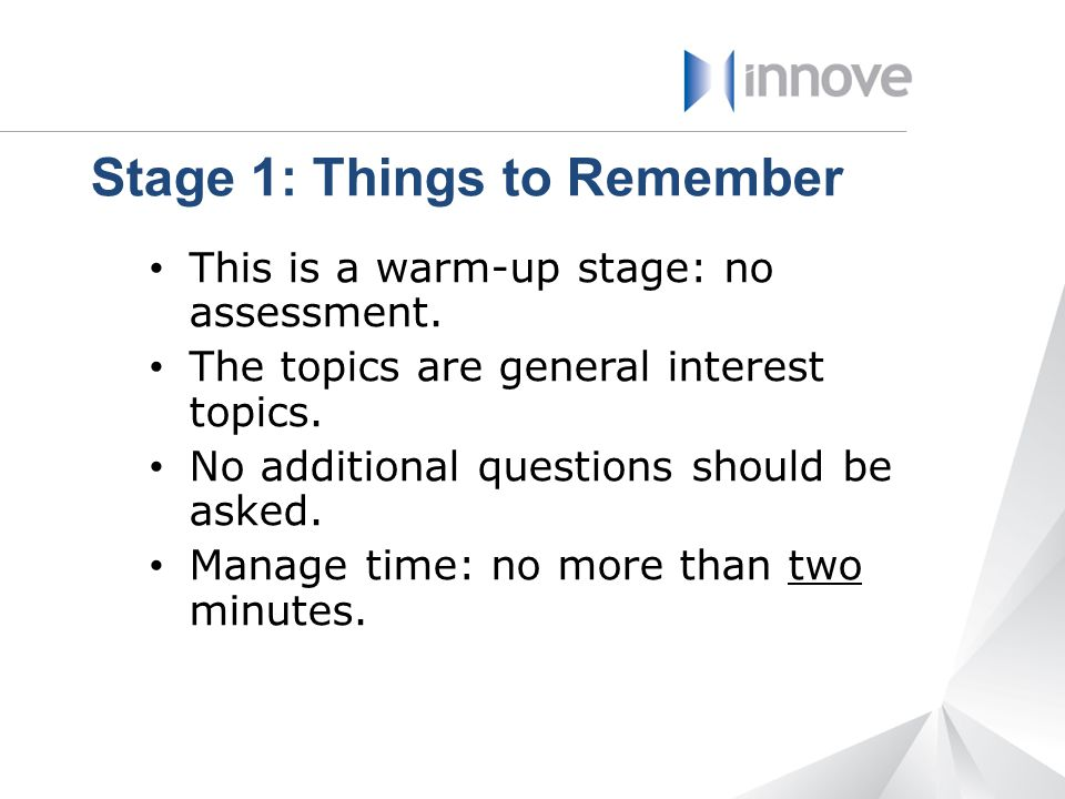 Stage 1: Things to Remember