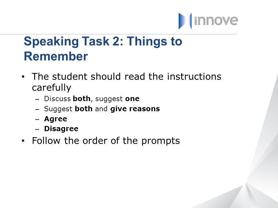 Speaking Task 2: Things to Remember
