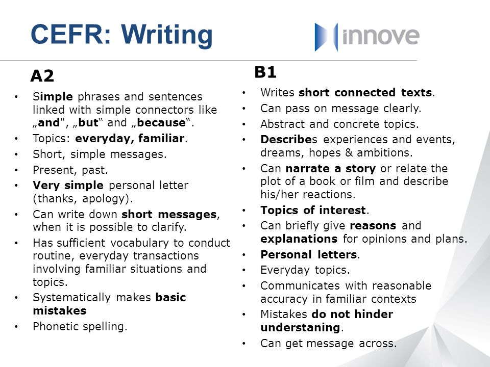 CEFR: Writing B1 A2 Writes short connected texts.
