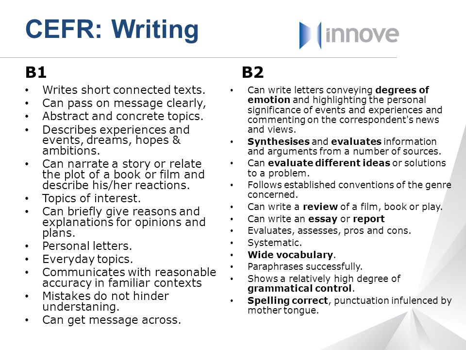 CEFR: Writing B1 B2 Writes short connected texts.