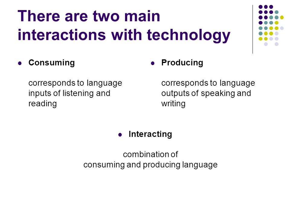 There are two main interactions with technology