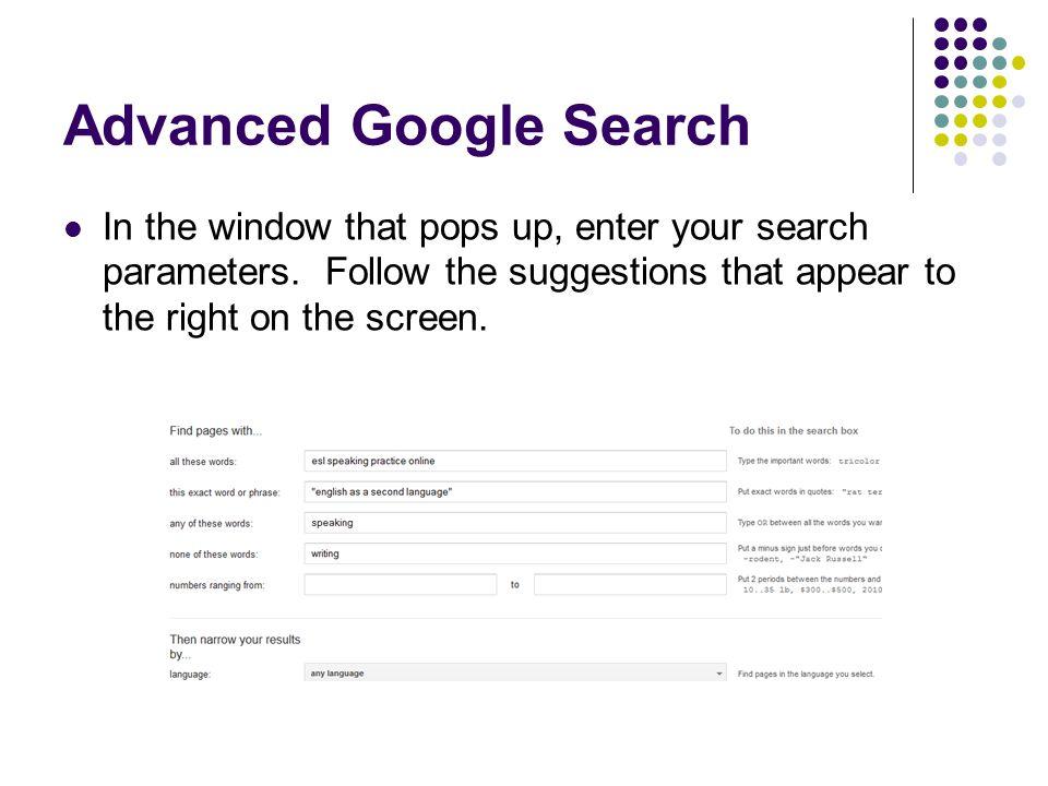 Advanced Google Search