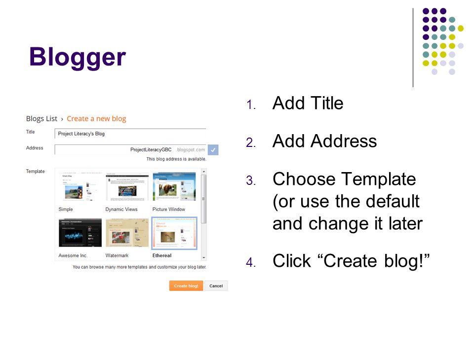 Blogger Add Title Add Address