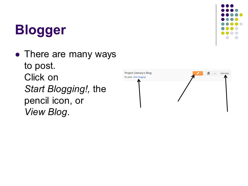 Blogger There are many ways to post. Click on Start Blogging!, the pencil icon, or View Blog.