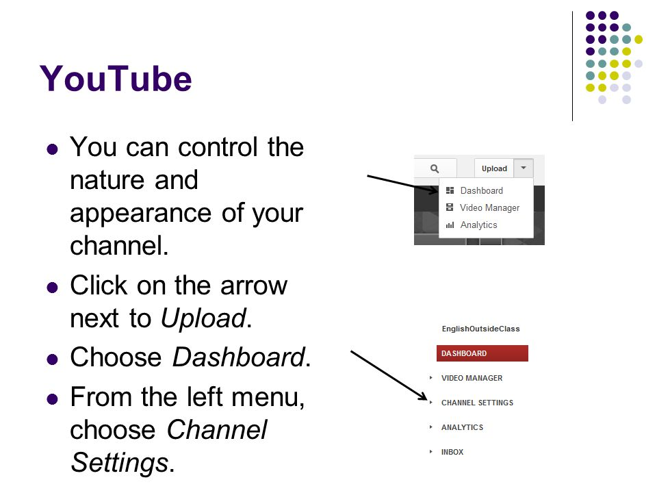 YouTube You can control the nature and appearance of your channel.