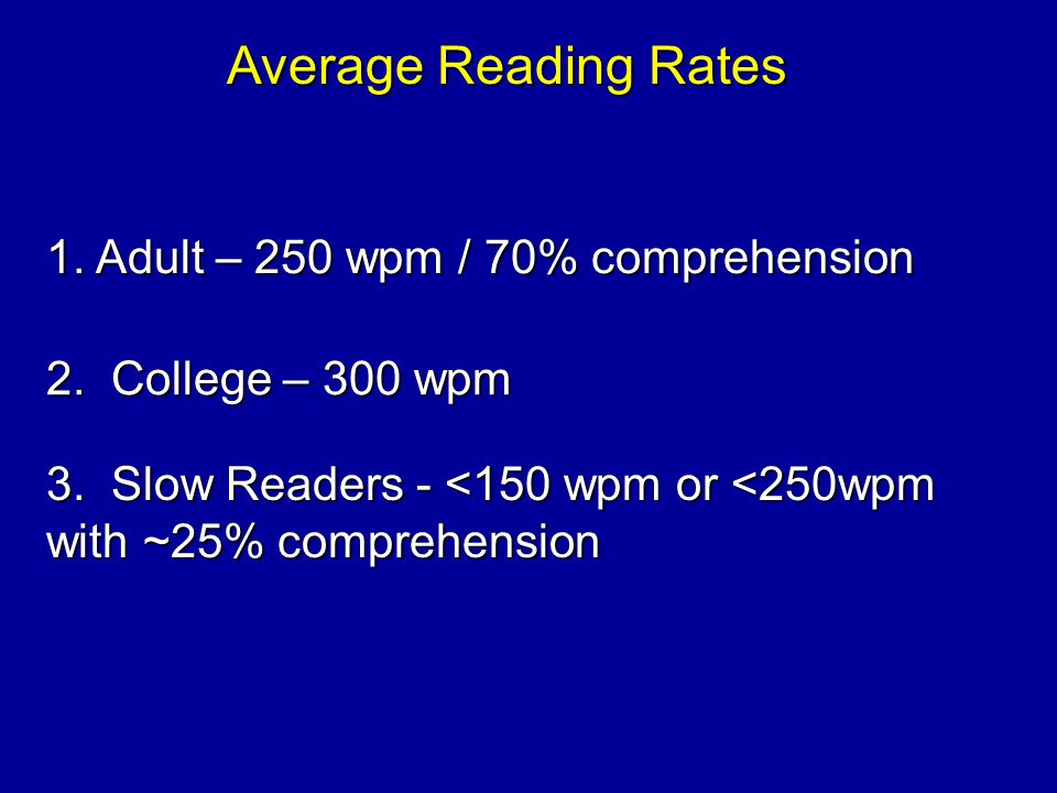 Average Reading Rates 1. Adult – 250 wpm / 70% comprehension