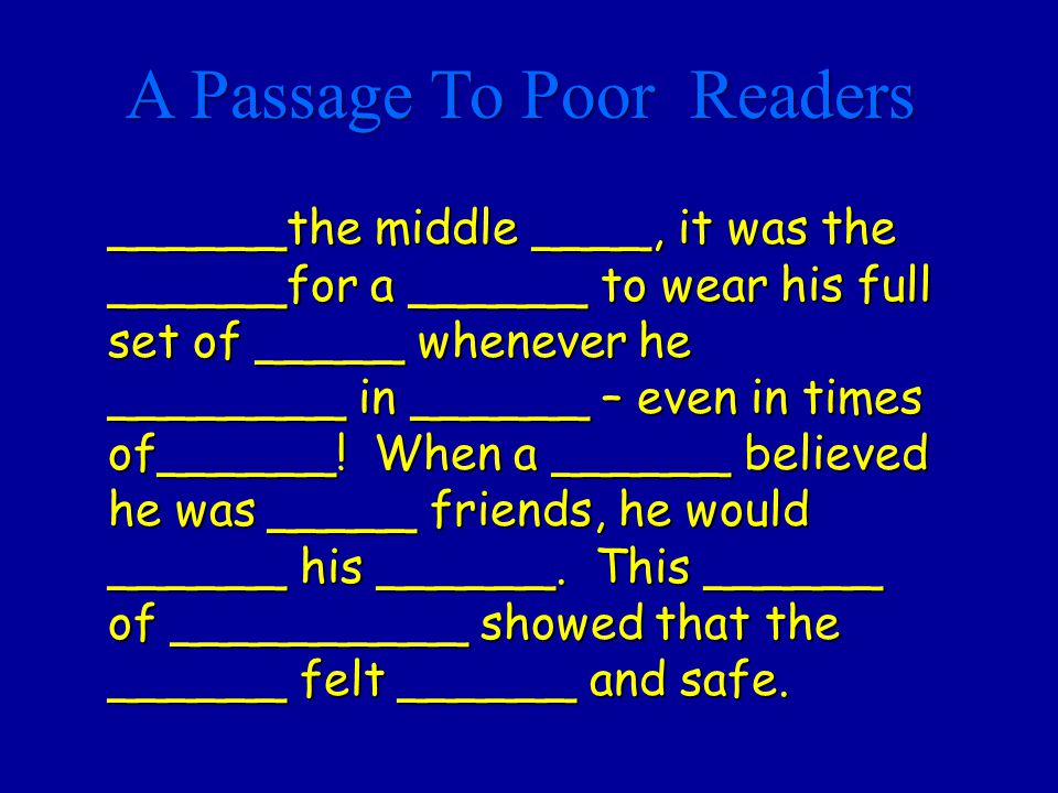 A Passage To Poor Readers