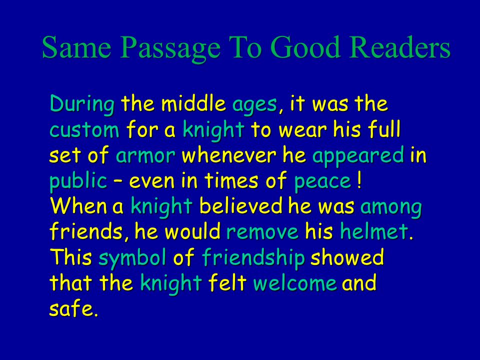 Same Passage To Good Readers