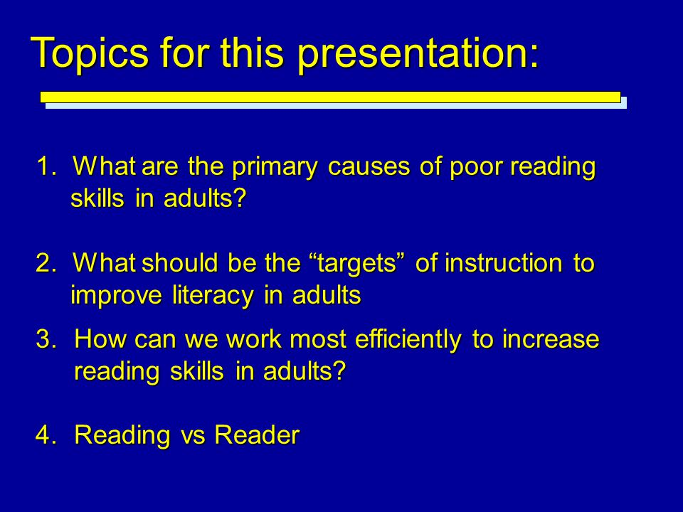 Topics for this presentation: