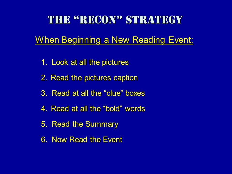 The Recon Strategy When Beginning a New Reading Event: