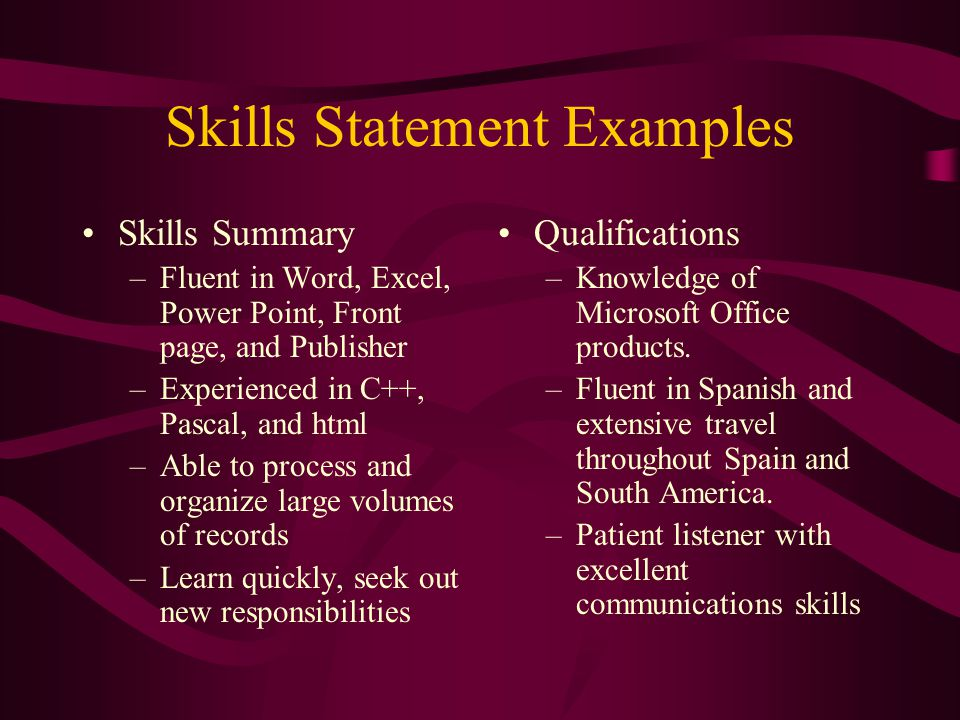 Skills Statement Examples