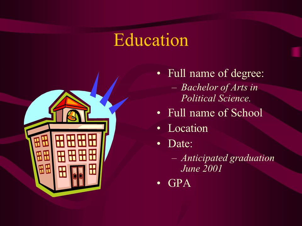 Education Full name of degree: Full name of School Location Date: GPA