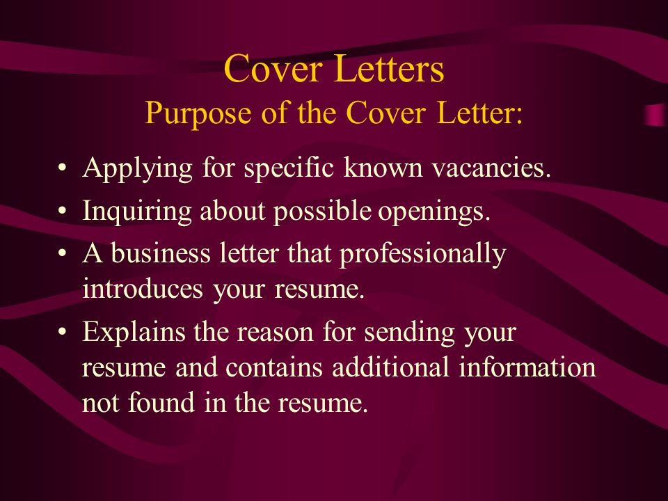 purpose an individual's letter