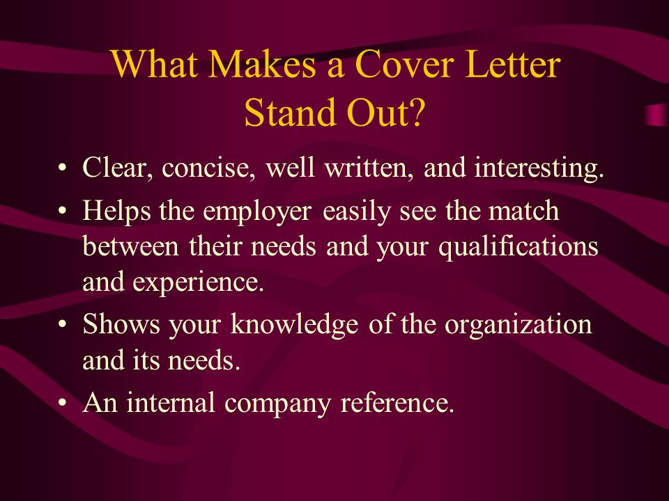 What Makes a Cover Letter Stand Out