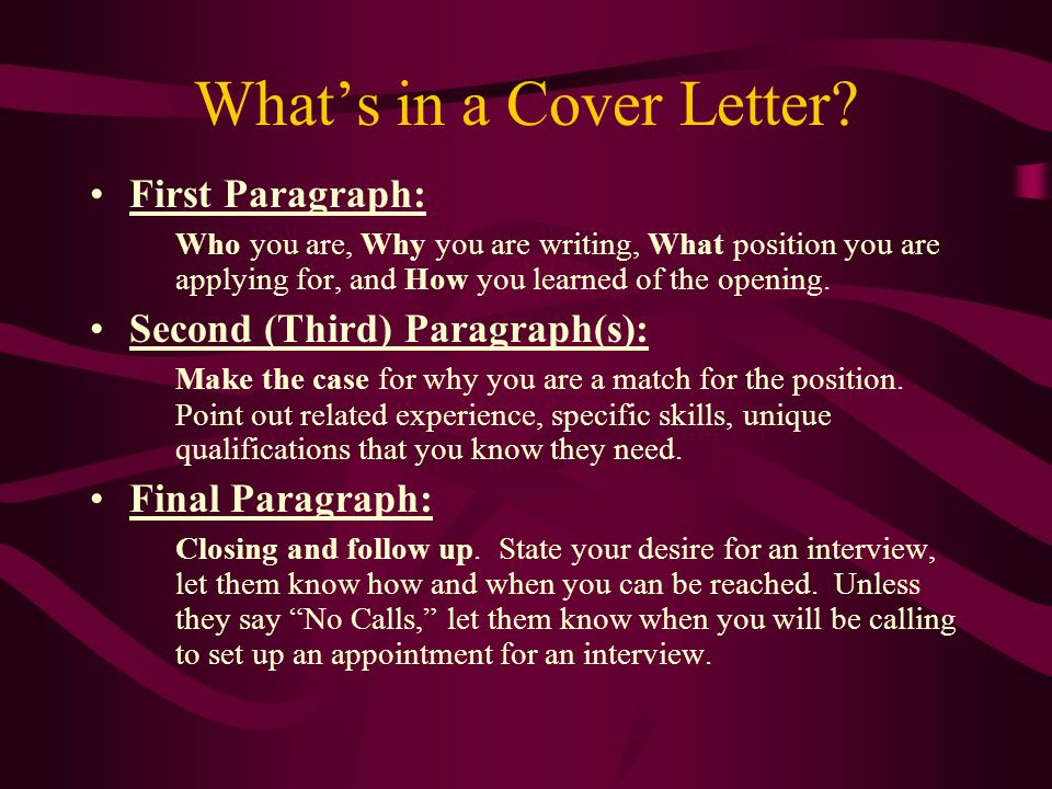 What's in a Cover Letter