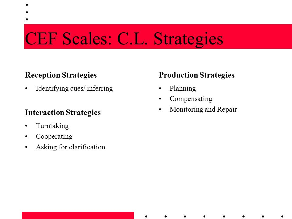 CEF Scales: C.L. Strategies
