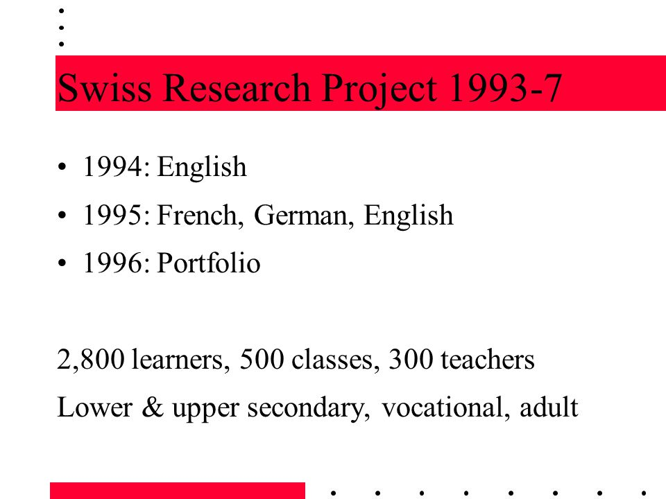 Swiss Research Project 1993-7