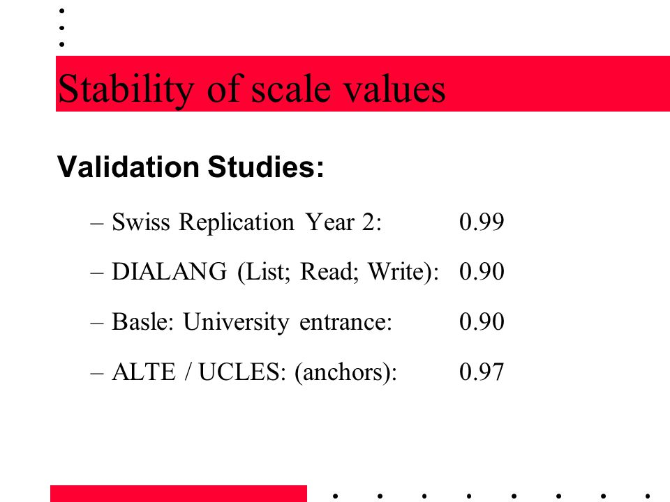 Stability of scale values
