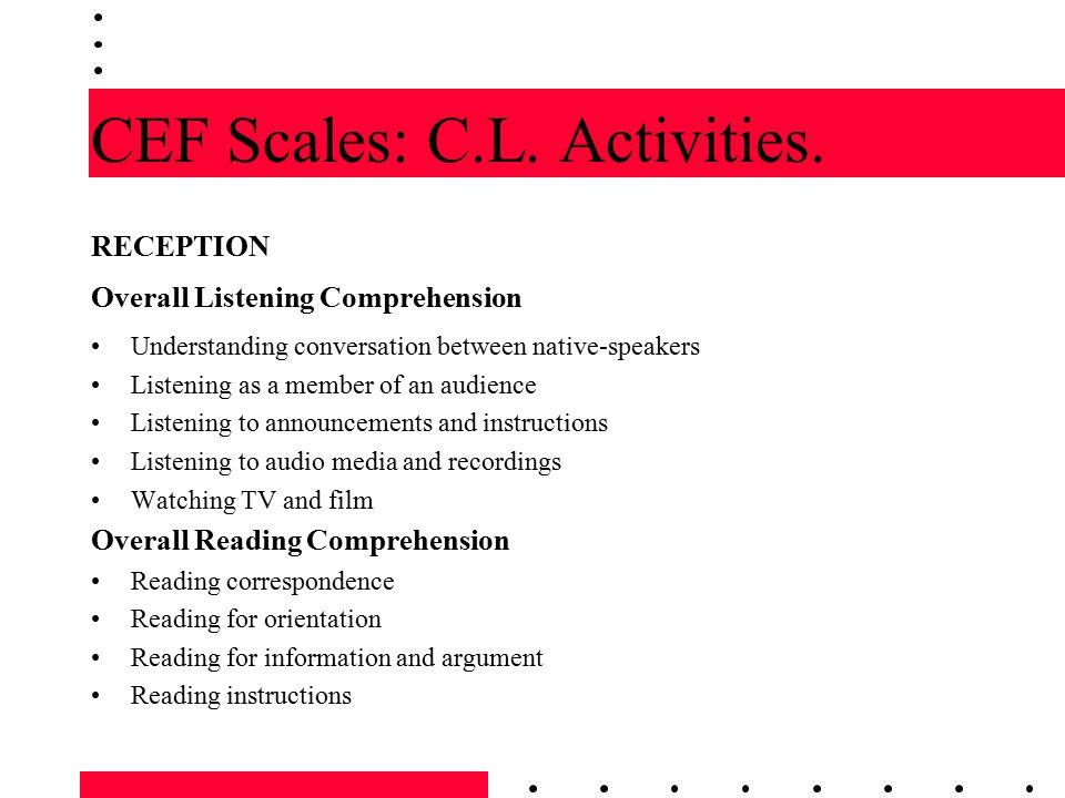 CEF Scales: C.L. Activities.