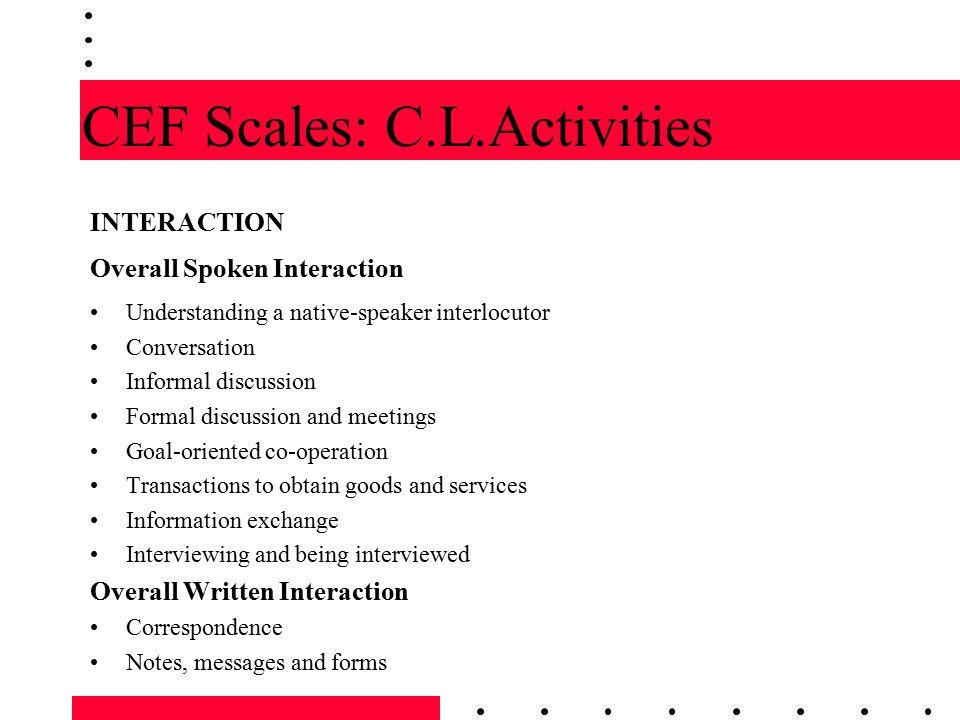 CEF Scales: C.L.Activities