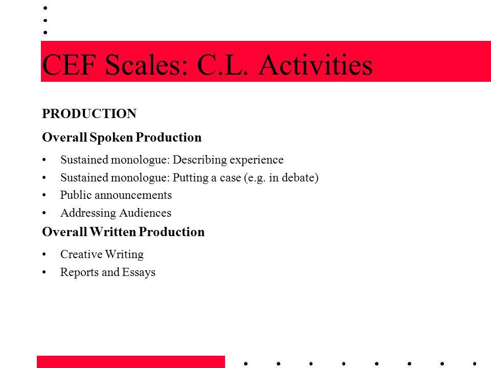 CEF Scales: C.L. Activities