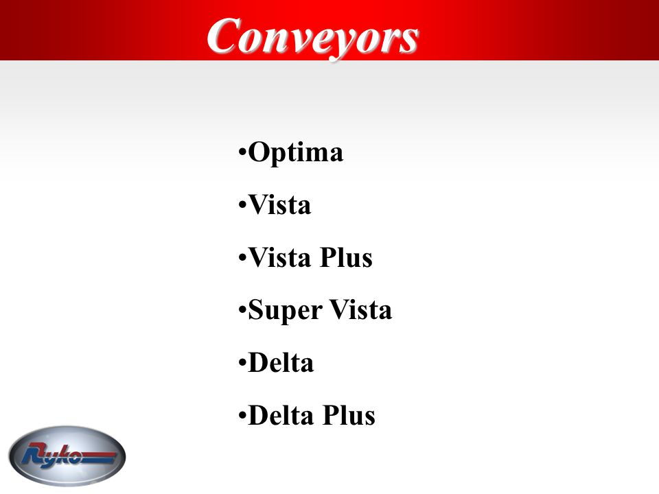 Conveyors Optima Vista Vista Plus Super Vista Delta Delta Plus