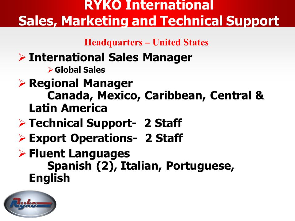 RYKO International Sales, Marketing and Technical Support